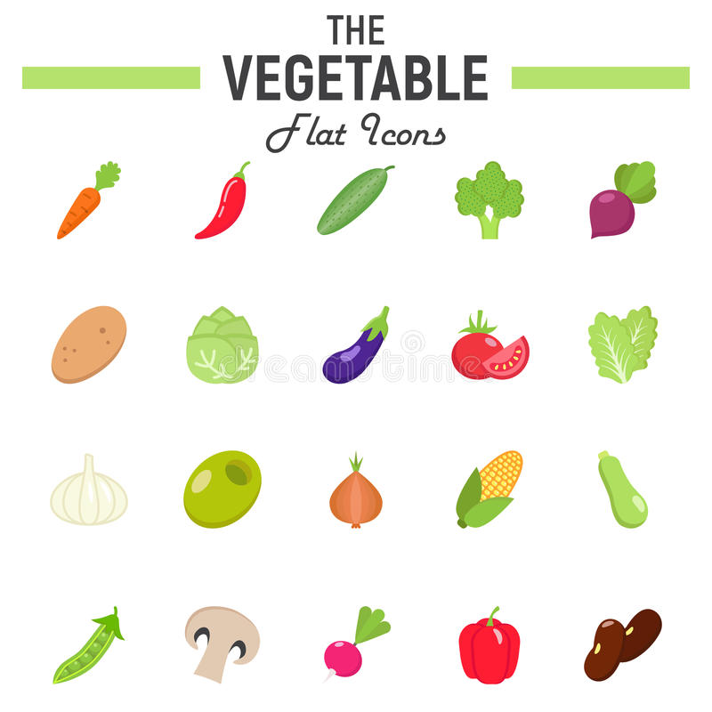 Plantaardige vlakke pictogramreeks, de inzameling van voedselsymbolen stock illustratie