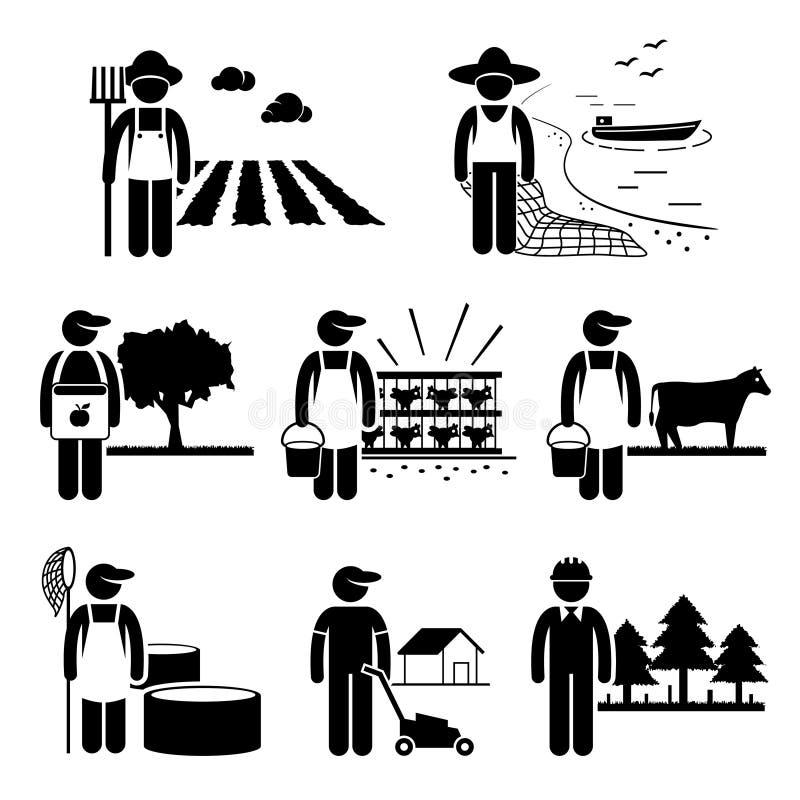 Plantación de la agricultura que cultiva trabajo de la industria pesquera de las aves de corral stock de ilustración