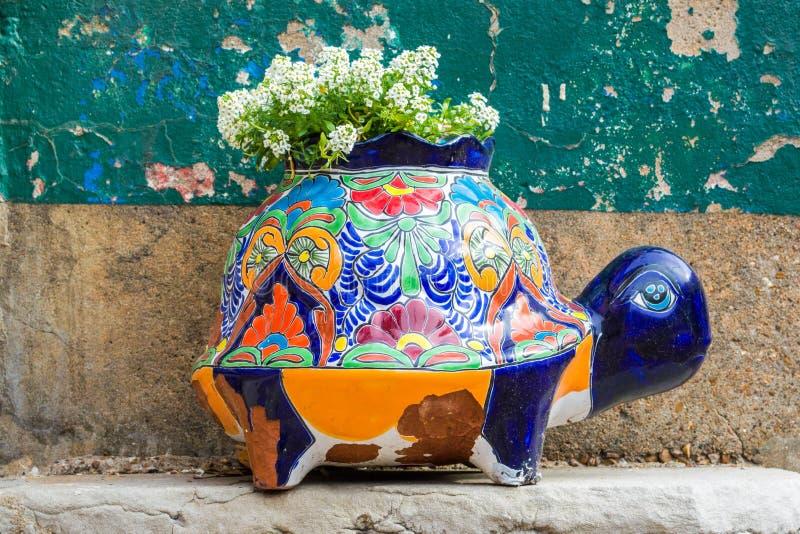 Plantador de cerámica colorido de la tortuga con las flores blancas en un restaurante de St. Louis imagen de archivo