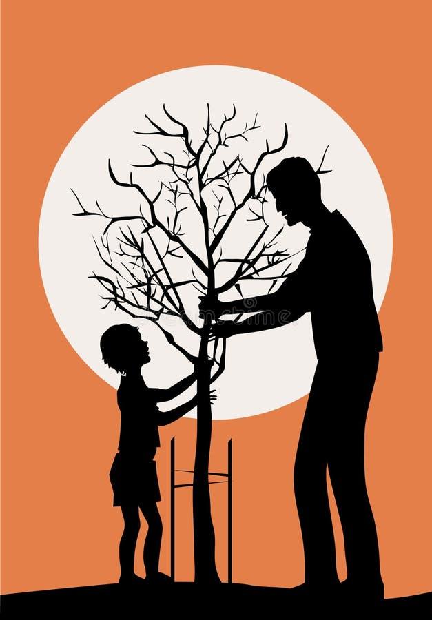 Plantando a árvore ilustração do vetor