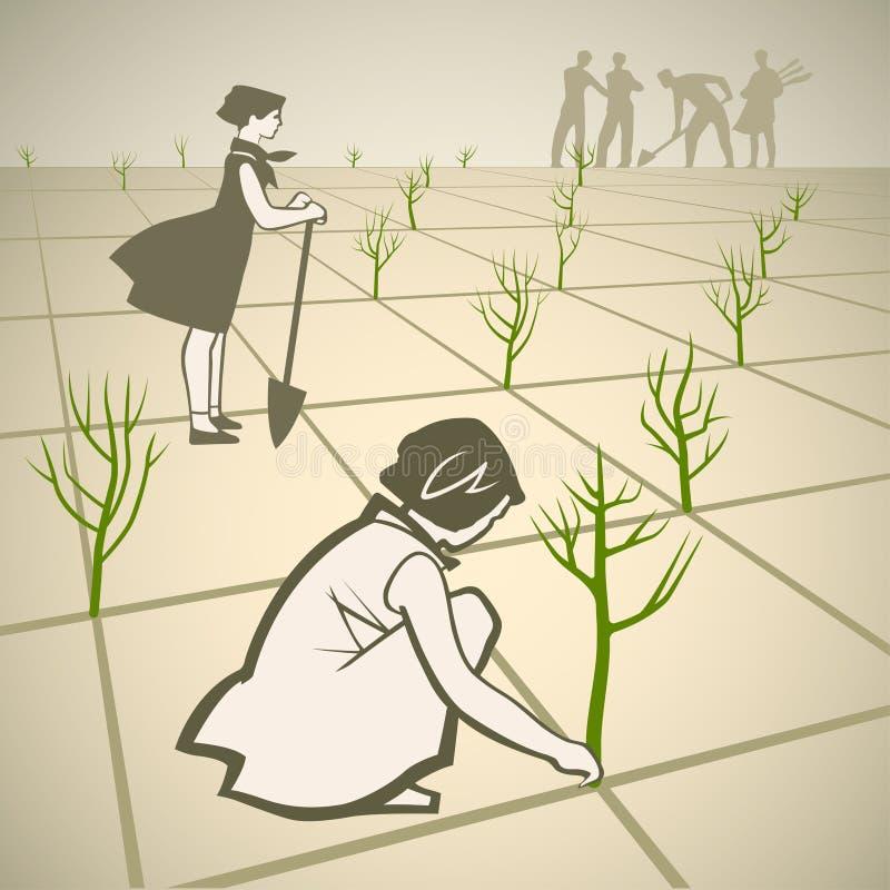 Plantando árvores ilustração do vetor