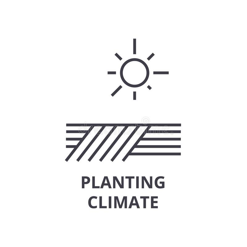 Plantando o clima alinhe o ícone, sinal do esboço, símbolo linear, vetor, ilustração lisa ilustração stock