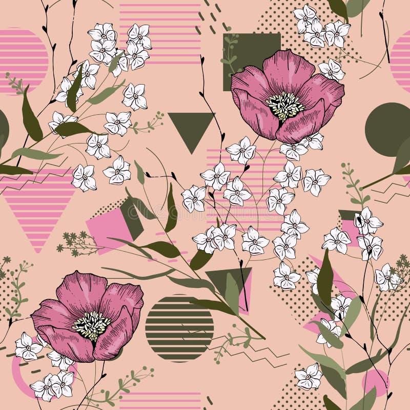Plantas aisladas realistas florecientes de la selva, palma Ejemplo brillante dibujado mano Flor inconsútil y hojas del vector tro ilustración del vector