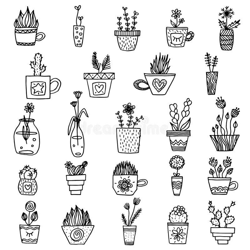 Plantas blancos y negros del vector en la línea arte plantas simples monocromáticas en los potes fijados colección aislada de pla ilustración del vector