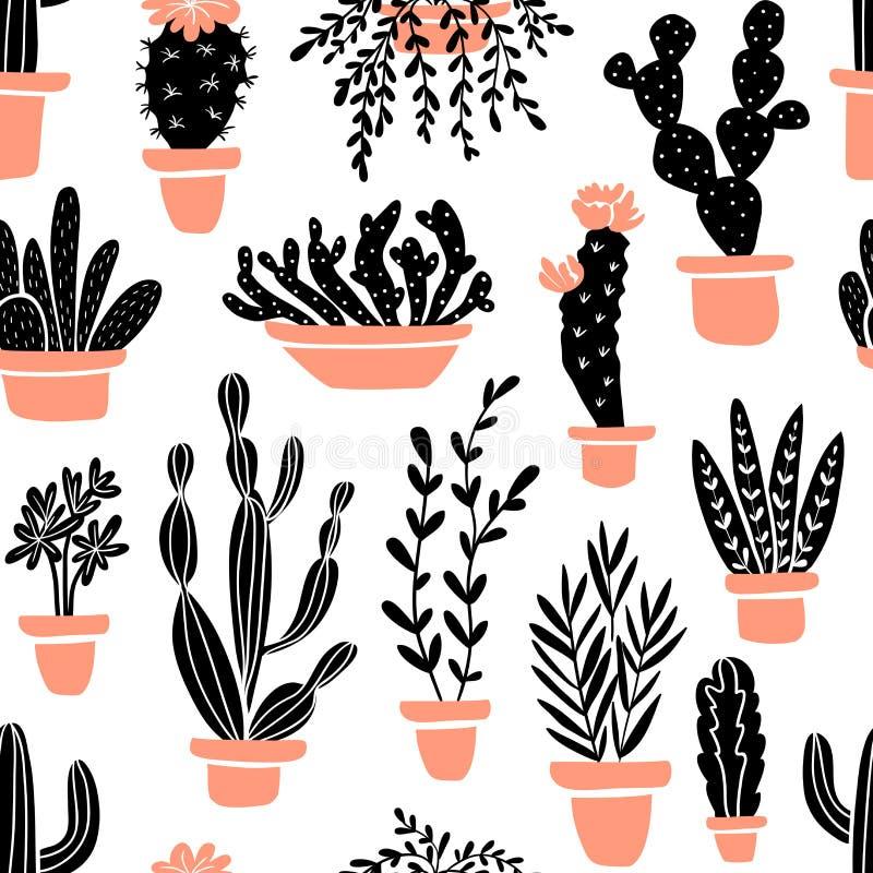 Plantas carnudas e plantas dos cactos Vector o teste padrão sem emenda com o cacto home dos desenhos animados do jardim ilustração do vetor
