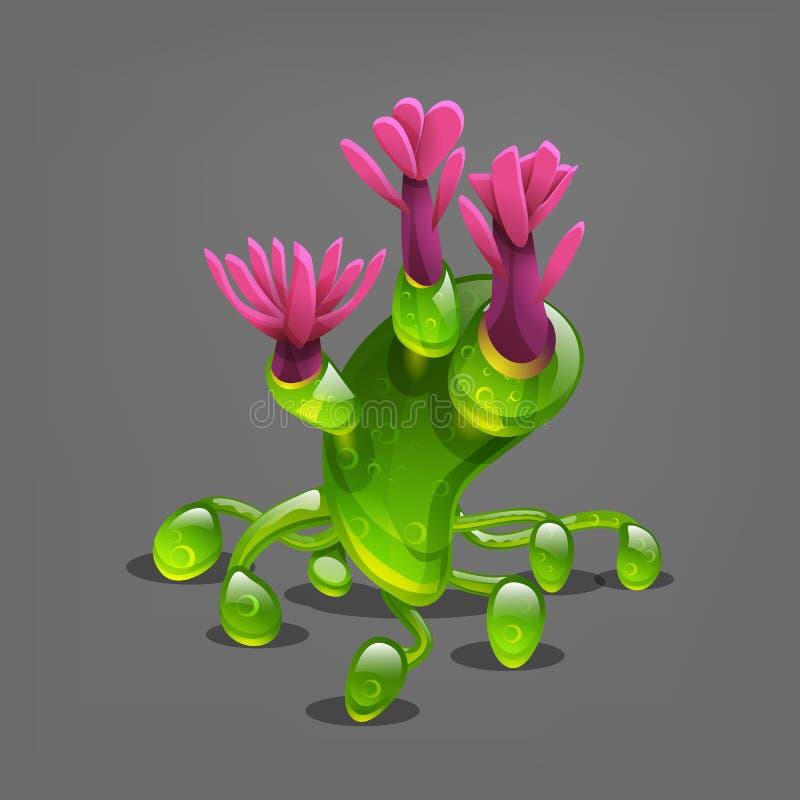Plantas coloridas engraçadas do estrangeiro da fantasia ilustração royalty free