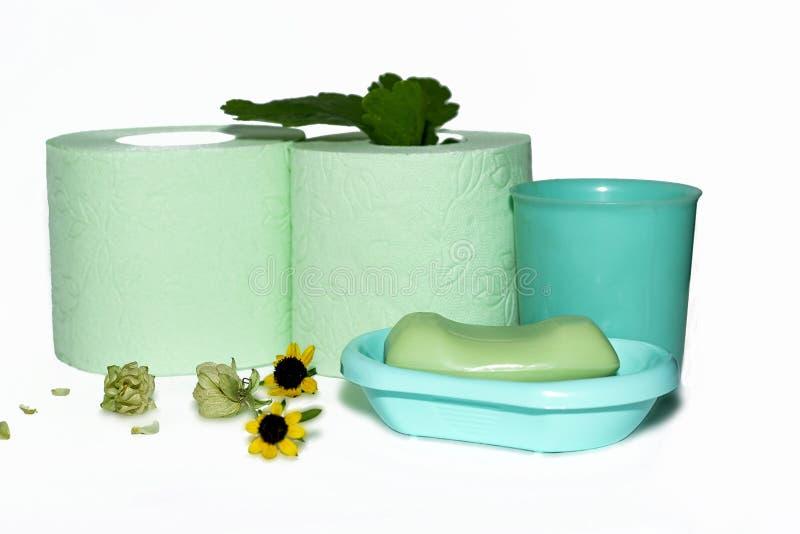 Plantas da cura, papel higiênico verde, sabão e caneca verde foto de stock royalty free