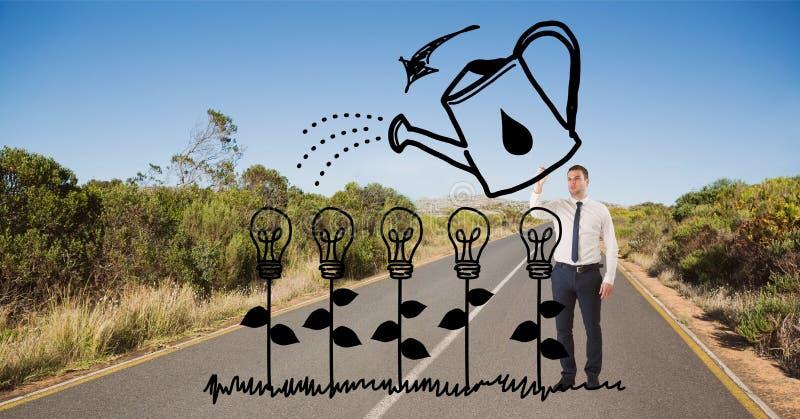Plantas de bulbo del dibujo del hombre de negocios en el camino imagenes de archivo