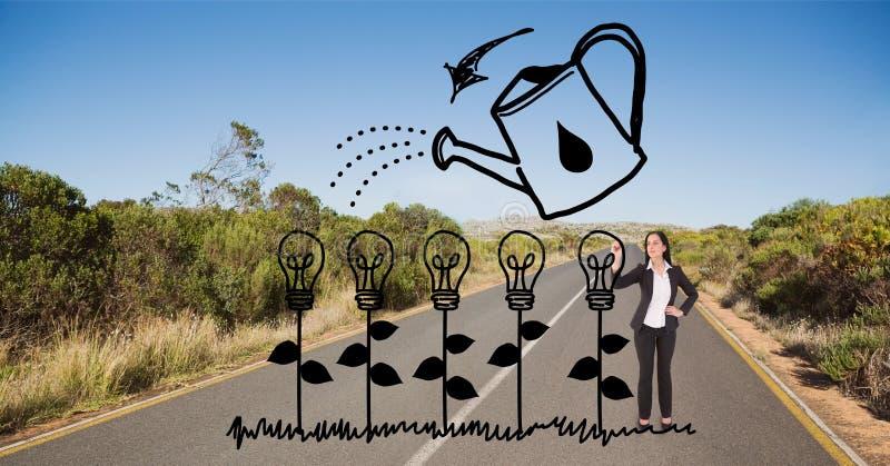 Plantas de bulbo do desenho da mulher de negócio na estrada fotos de stock
