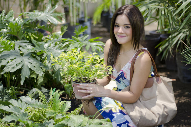Plantas de compra lindas de la mujer joven fotos de archivo