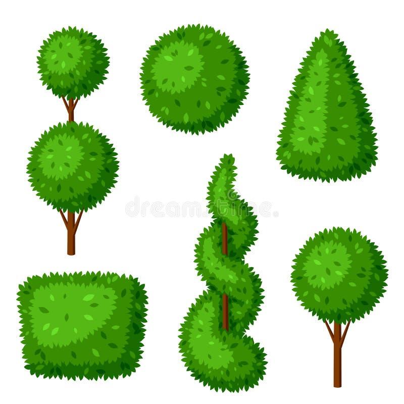 Plantas de jardim do topiary do buxo Jogo de árvores decorativas ilustração royalty free