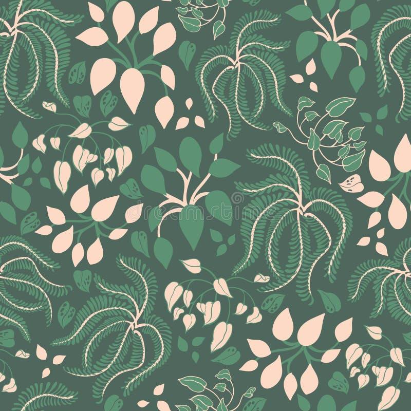 Plantas de la casa con las hojas verdes en modelo inconsútil del vector del fondo verde oscuro ilustración del vector