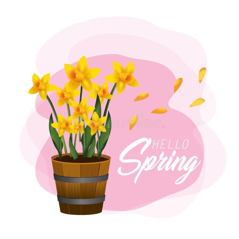 Plantas de las flores de la primavera con los pétalos de la belleza ilustración del vector