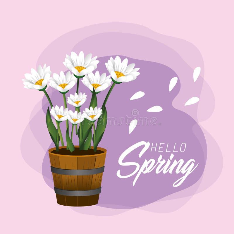 Plantas de las flores de la primavera con los pétalos exóticos ilustración del vector