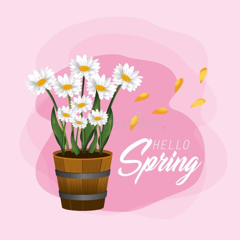 Plantas de las flores de la primavera con los pétalos y las hojas stock de ilustración
