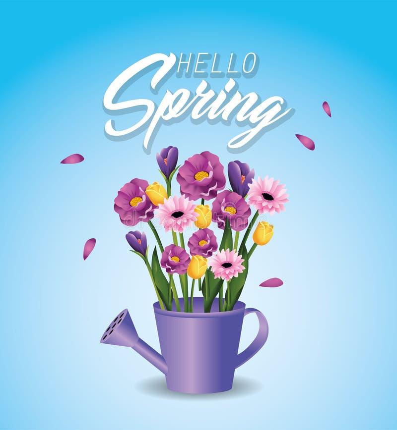 Plantas de las flores de la primavera dentro de la regadera libre illustration