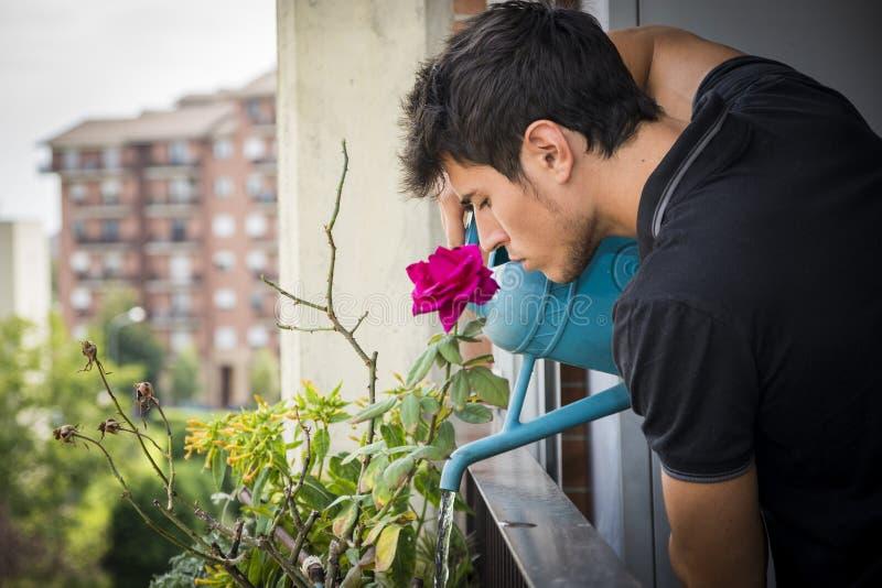 Plantas de riego del hombre joven en balcón del apartamento fotografía de archivo