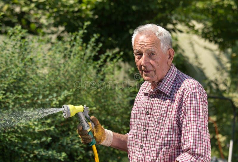 Plantas de riego del viejo hombre en jardín fotos de archivo libres de regalías