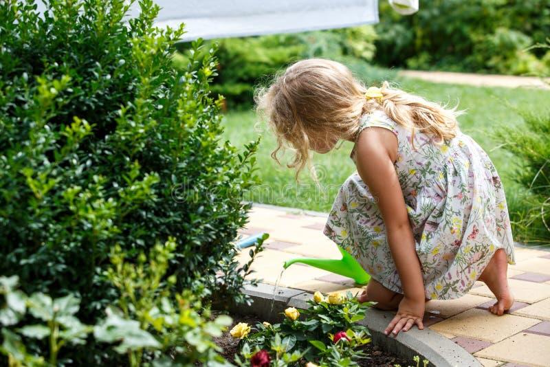 Plantas de riego lindas de la niña en el jardín fotografía de archivo