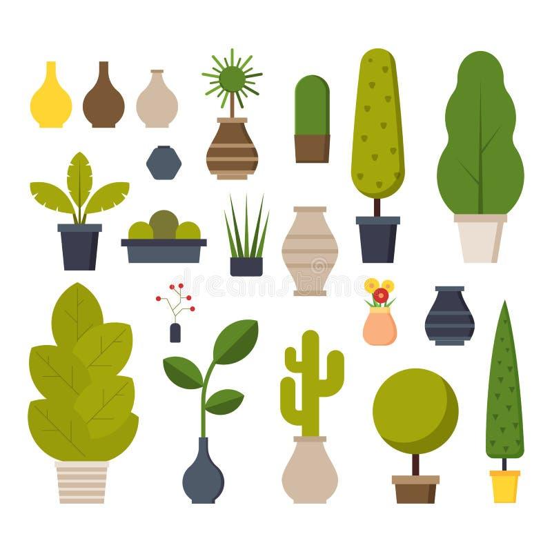 Plantas del hogar y de la oficina fijadas stock de ilustración