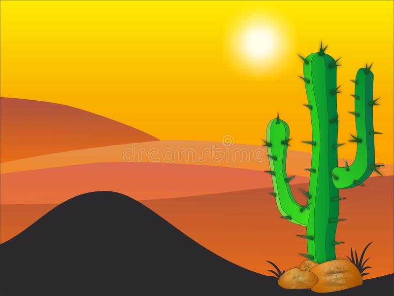 Plantas do cacto no deserto ilustração do vetor