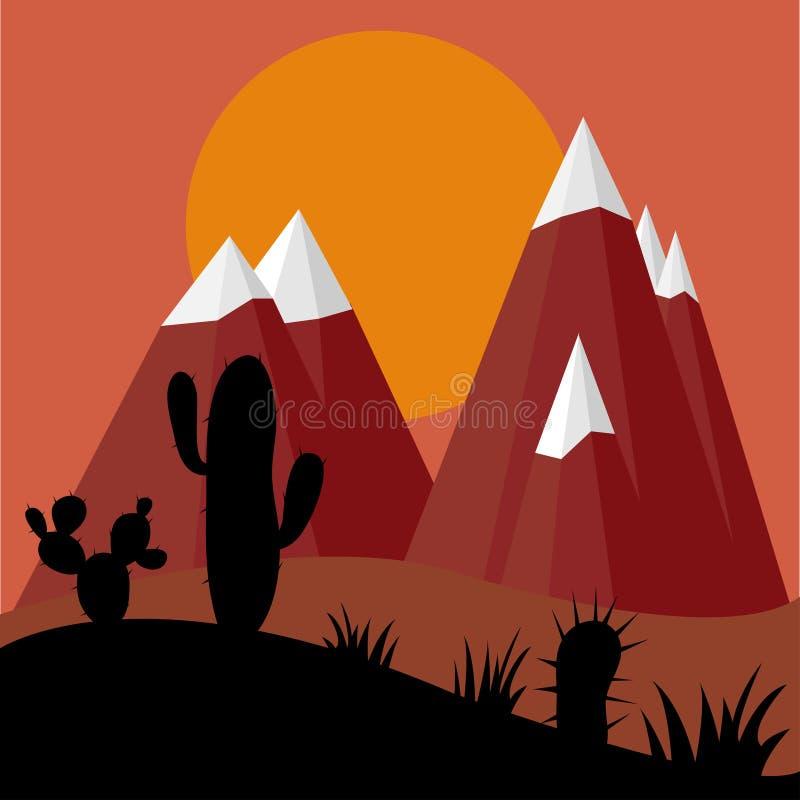 Plantas do cacto no por do sol do deserto com fundo das montanhas ilustração royalty free