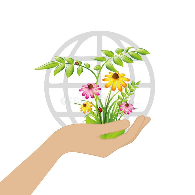 Plantas e flores fêmeas da posse da mão para a terra ilustração royalty free