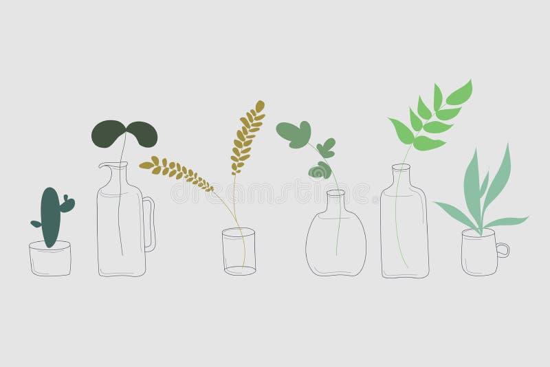 Plantas en la botella, taza, pote stock de ilustración