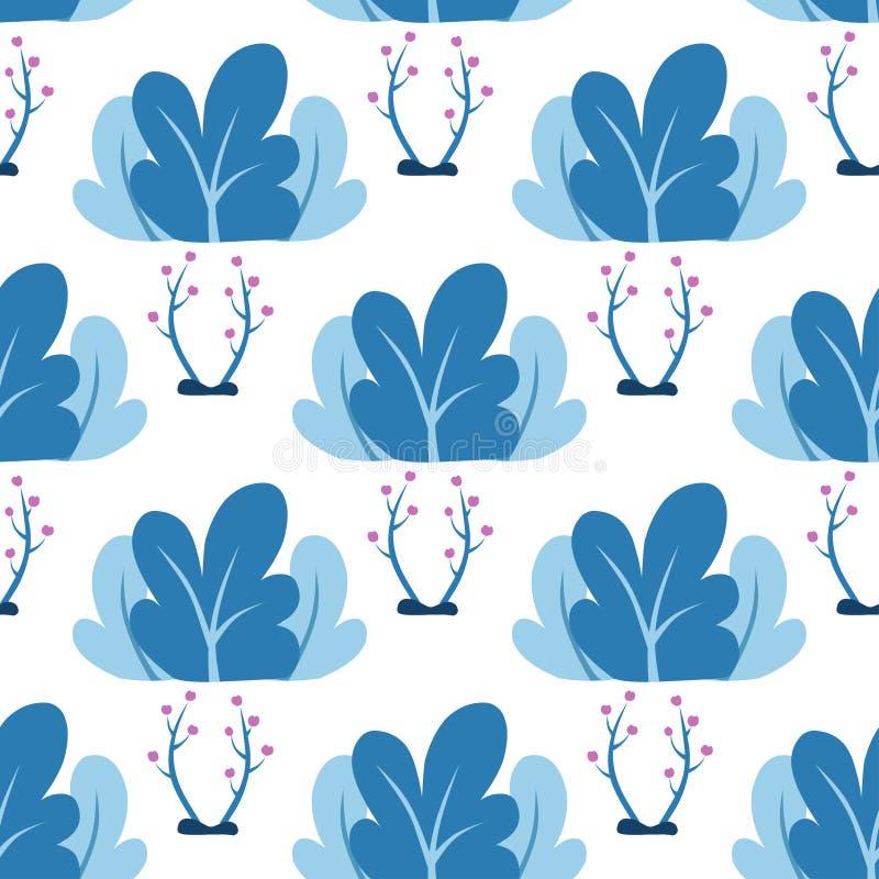 Plantas, folhas, teste padrão sem emenda do vetor das árvores no estilo liso Conceito no estilo liso, composição das árvores e ar ilustração royalty free