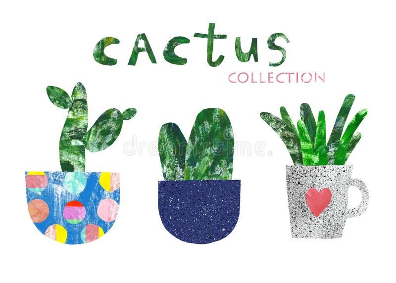 Plantas interiores de la casa del cactus exhausto de la mano en las macetas lindas, aisladas Estilo del corte del papel del colla ilustración del vector