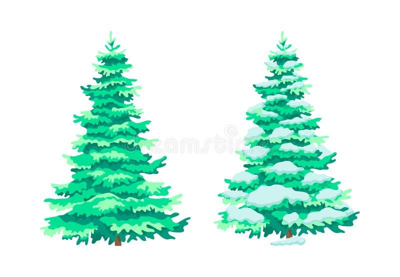 Plantas leñosas lindas, árboles en verano, estaciones del álamo temblón del eco del invierno ilustración del vector