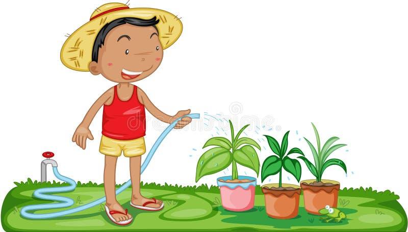 Plantas molhando de um menino ilustração stock
