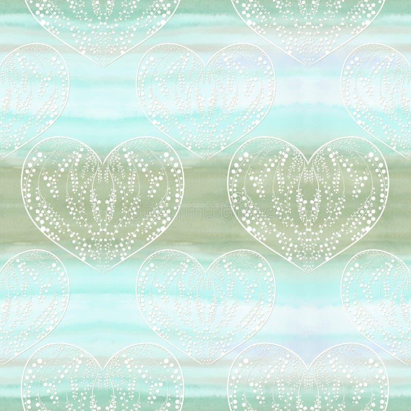 Plantas na forma de um coração em um fundo da aquarela Os testes padrões sem emenda usam materiais impressos, sinais, cartazes, c ilustração stock