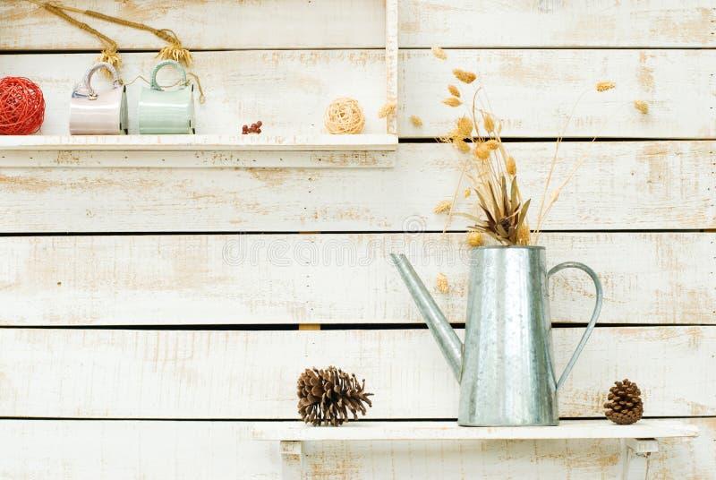Plantas na parede de madeira áspera branca imagem de stock royalty free