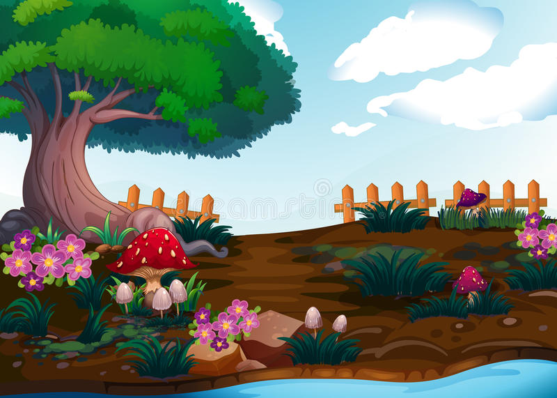 Plantas pequenas perto da árvore gigante ilustração do vetor