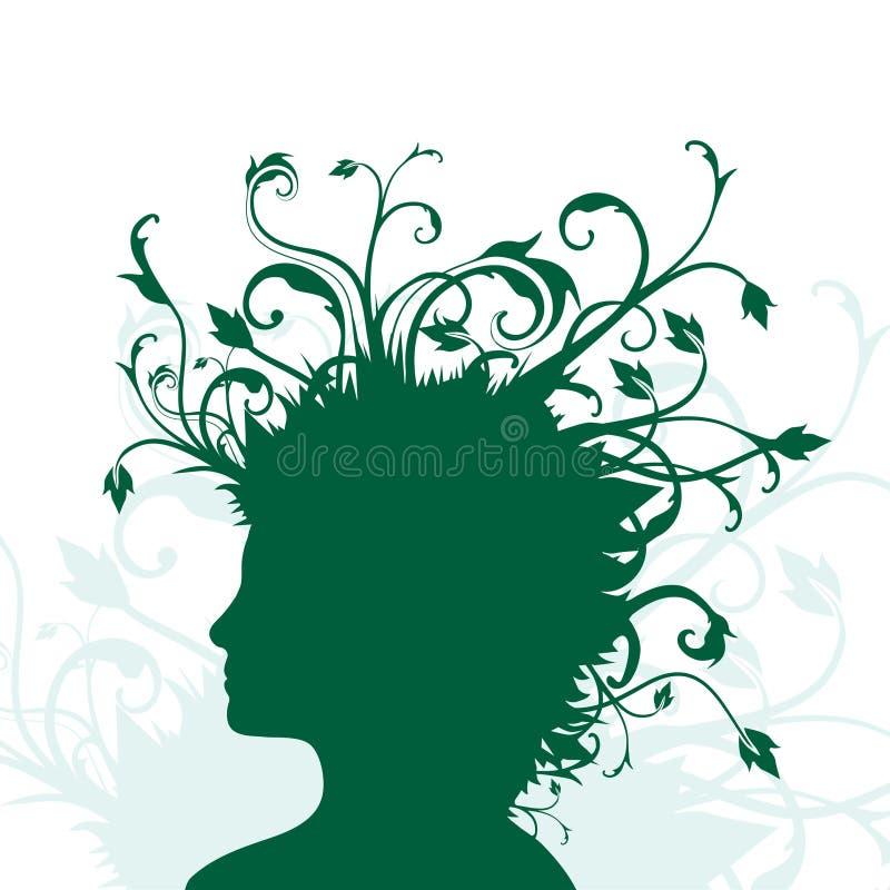 Plantas que crescem da cabeça humana ilustração stock