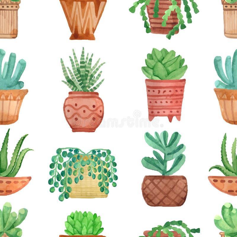 Plantas sem emenda da casa do teste padrão da aquarela em uns potenciômetros ilustração stock