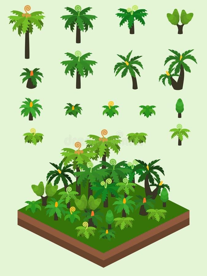 Plantas simples isométricas fijadas - bosque prehistórico genérico stock de ilustración