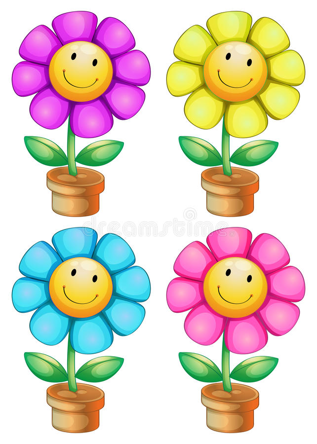 Plantas sonrientes ilustración del vector