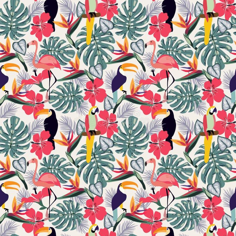 Plantas tropicais com pássaro do tucano e o decorativo sem emenda das flores ilustração royalty free
