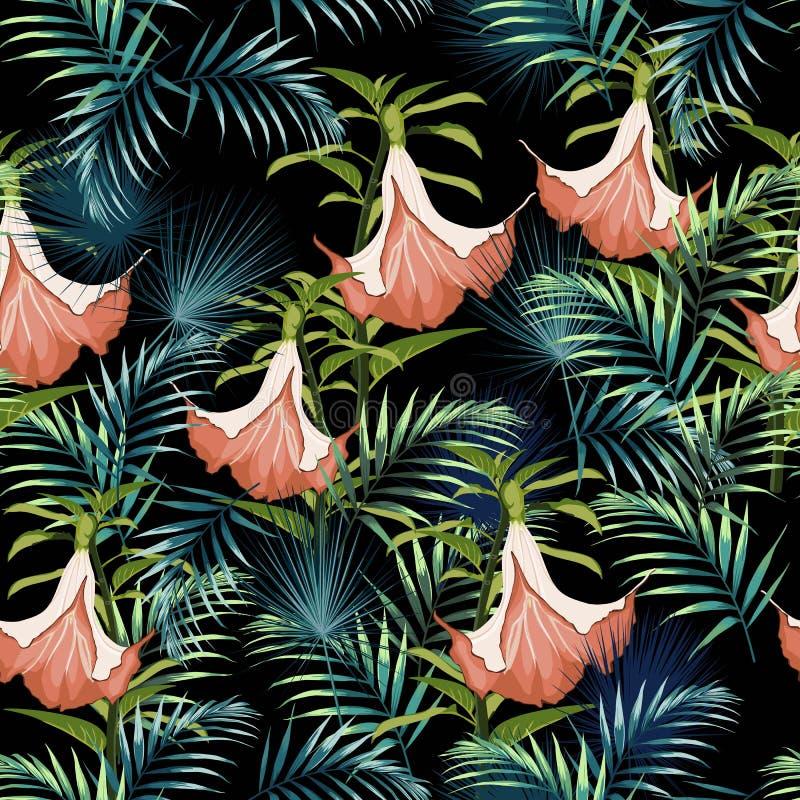 Plantas tropicais, flores exóticas e teste padrão sem emenda das folhas em um fundo branco Ilustração do vetor Lírios tropicais ilustração stock