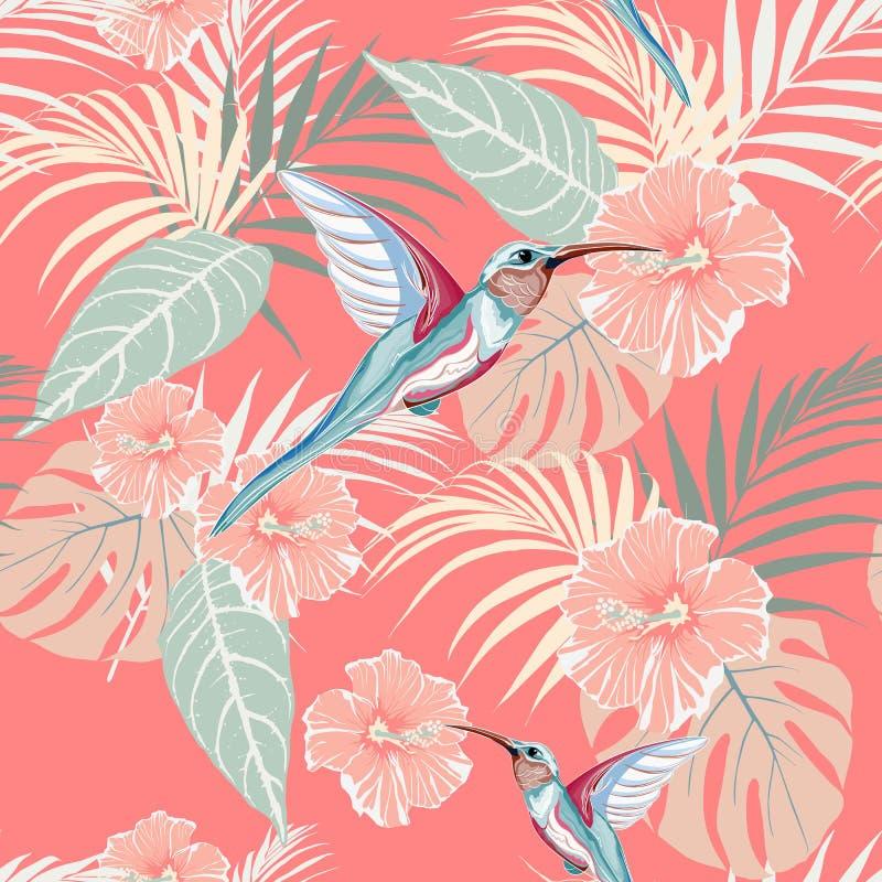 Plantas tropicais, hibiscus e pássaro de Colibri Teste padrão tropical sem emenda, fundo brilhante ilustração stock