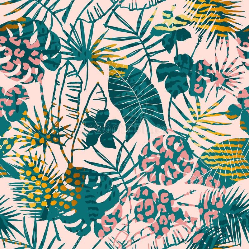Plantas tropicales del modelo exótico inconsútil de moda, estampados de animales y texturas dibujadas mano stock de ilustración
