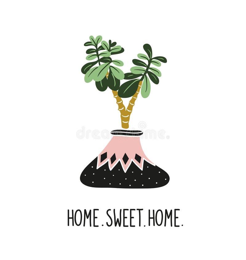 Plantas tropicales dibujadas mano de la casa Ejemplo escandinavo del estilo, con las letras - ` y crassula caseros dulces caseros ilustración del vector