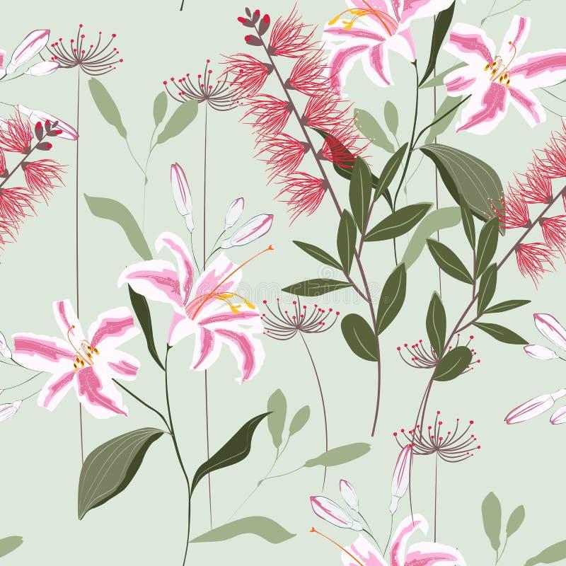 Plantas tropicales, flores reales de los lirios y modelo inconsútil de las hojas en un fondo ligero de la menta ilustración del vector
