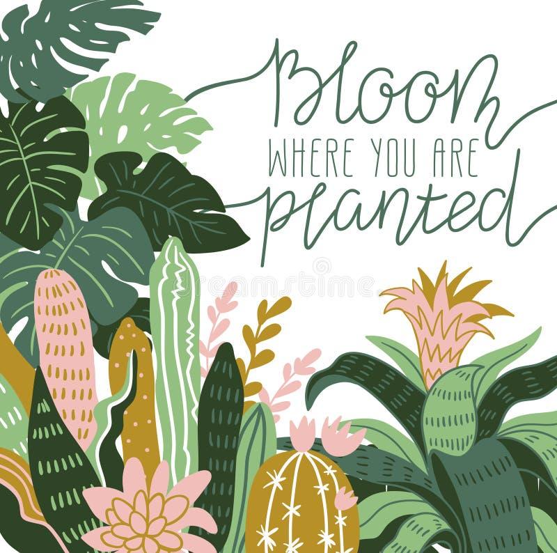 Plantas tropicales salvajes dibujadas mano de la casa Ejemplo escandinavo del estilo, decoración casera diseño de la impresión de stock de ilustración
