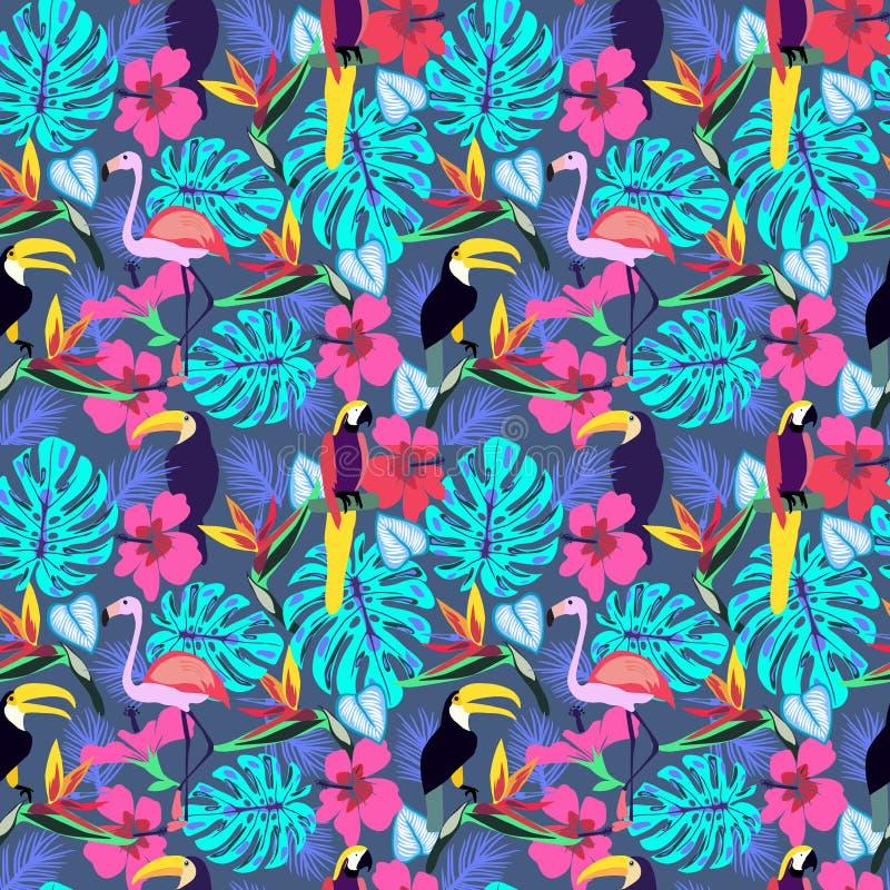 Plantas tropicales y flores con el tucán, loro, flamenco ilustración del vector