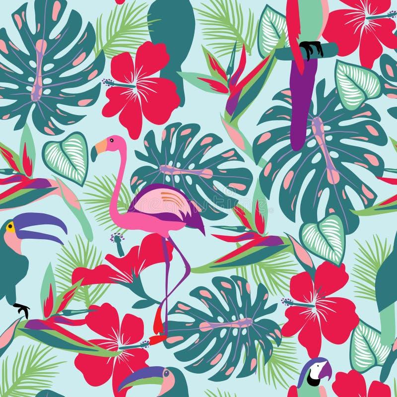 Plantas tropicales y flores con el tucán, loro, pájaros del flamenco stock de ilustración