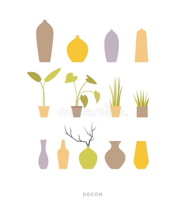 Plantas verdes em uns potenciômetros e em uns vasos cerâmicos para decorar o interior da casa e do escritório ilustração royalty free