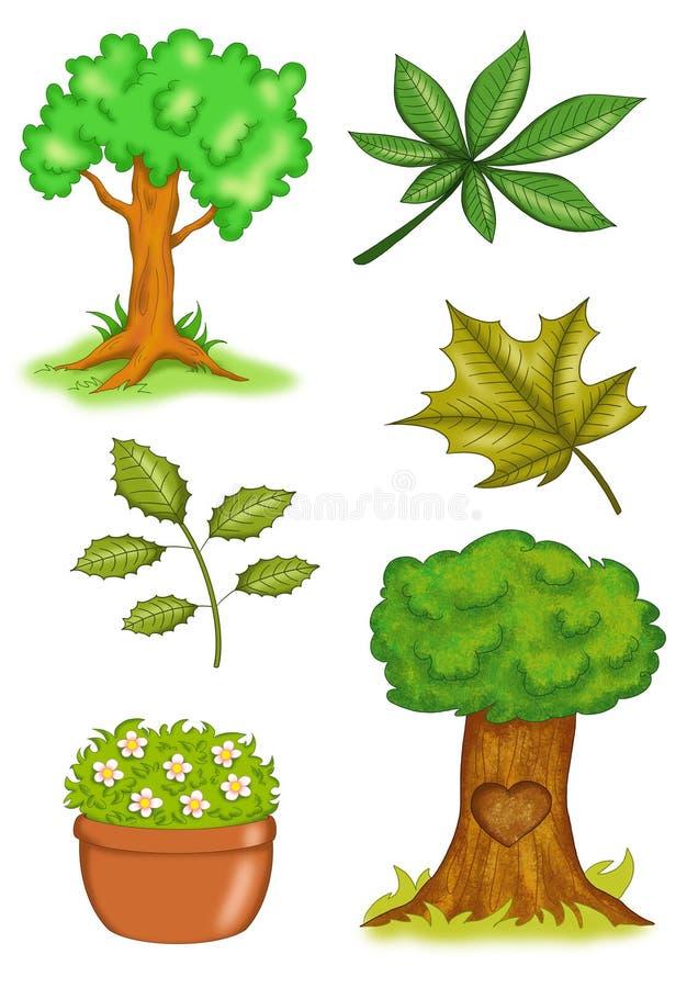 Plantas y árboles ilustración del vector